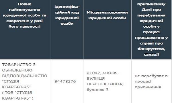 """""""Квартал 95"""" зарегистрирован и платит налоги в Киеве"""
